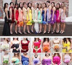 Rainbow bridesmaids..