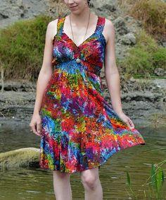 Look what I found on #zulily! Rainbow Kaleidoscope Floral Shirred Surplice Dress by Island Tribe Apparel #zulilyfinds