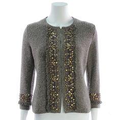 Rena Lange Grey Wool Knit Bead Embellished Cardigan - $199.99