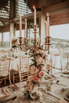 How to have a Rose Gold Sunset wedding in Cyprus . How to have a Rose Gold Sunset wedding in Cyprus. Candelabra Wedding Centerpieces, Candelabra Flowers, Wedding Table Centerpieces, Wedding Flower Arrangements, Flower Centerpieces, Centerpiece Ideas, Quinceanera Centerpieces, Gold Wedding Decorations, Trumpet Vase Centerpiece
