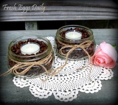 Fresh Eggs Daily: Coffee Bean Candle Holders - a Pinspiration Project