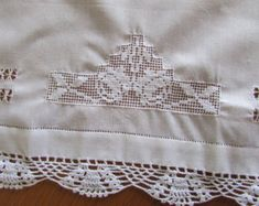 Your place to buy and sell all things handmade Crochet Table Topper, Vintage Baby Boys, Linen Napkins, Table Toppers, Diamond Design, Vintage Table, Vintage Crochet, Shabby Chic, Rustic