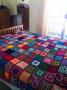 My crocheted blanket. I Love it!