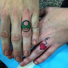 911b9d24c Cute couple tattoo #InkedMagazine #finger #tattoo #videogame #Inked #ink #