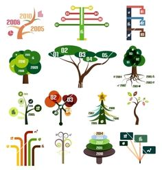 Set of tree infographic design templates vector - by antishock on VectorStock®