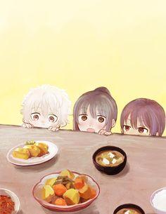 Pixiv Id 9944916, Gin Tama, Sakata Gintoki, Katsura Kotaro, Takasugi Shinsuke, Yellow Background