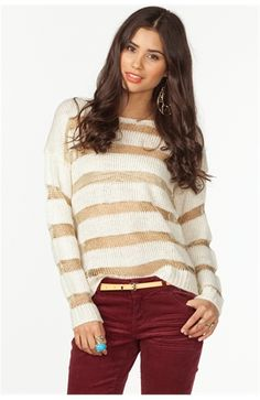 Gold striped sweater and maroon/burgundy pants