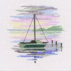 Beach, Seaside, Rivers & Lakes - Sailing Boat - Minuets - Cross Stitch Kit from Derwentwater Designs Cross Stitch Sea, Cross Stitch Kits, Cross Stitch Charts, Cross Stitch Designs, Cross Stitch Patterns, Cross Stitching, Cross Stitch Embroidery, Embroidery Patterns, Cross Stitch Landscape
