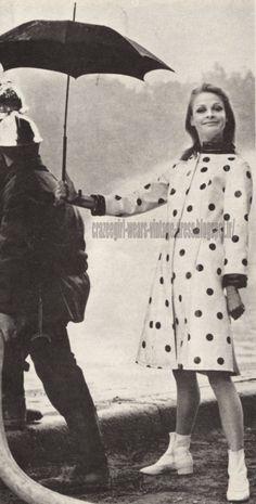 Raincoat - 1966 polka dot dotted vinyl pvc rain coat umbrella 60s 1960