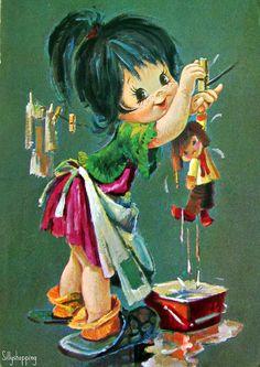 Vintage Big Eyed Kidz Postcard