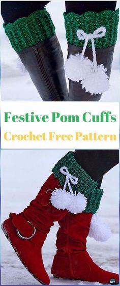 Crochet Fox Patterns: Crochet Festive Pom Boot Cuffs Free Pattern