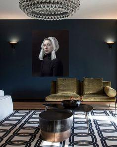 Navy walls + velvet olive couch