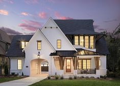 Beautiful English country house in Charlotte with a modern twist - On the exterior facade, all cedar is stained in Benjamin Moore Hidden Valley. Exterior Siding, Exterior Design, Exterior Paint, Benjamin Moore, Board And Batten Siding, Country House Design, Property Design, Custom Built Homes, Luxury Interior Design