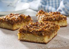 Slankeklubbens lækre kokoskage er sødet med stevia-sukker. Kagen er bagt med appelsinskal og -saft, og den har en lækker topping af bl.a. valsede ruggryn, kokosmel, stevia-sukker og en smule sirup.