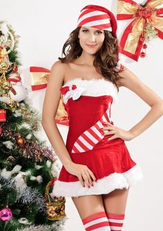 Striped tube top dress with fur trimmed skirt Red velvet mini tube dress Fur trim White furries Matching Santa hat Stripe details Size One Size Fits Most Bust Waist Hips Color Red/ White Material and Care Cotton Blends Hand wash cold 7166 Red Christmas Dress, Christmas Lingerie, Christmas Costumes, Christmas Fashion, Christmas Clothing, Christmas Candy, Xmas, Christmas Tree, Halloween Costumes