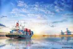 Logistics and transportation of International Container Cargo ship and cargo plane in the ocean at twilight sky, Freight Transportation, Shipping Transport Companies, Transport Logistics, Container Terminal, Freight Transport, Twilight Sky, Transportation Services, Environment, Ocean, Plane