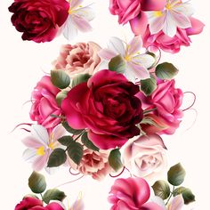 Roses and huasinth flowers seamless pattern vector