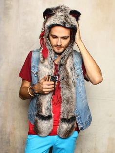 #SpiritHoods Grey Wolf HB3 BUILT IN WASHABLE SPEAKERS to plug into your phone or mp3 player!! #FauxFur $119 -- Sales give 10% back to endangered animals #GiveBack