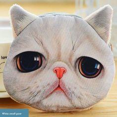 Kids Cute Cat Dog Face Zipper Case Purse Girls Coin Wallet Makeup Bag Pouch