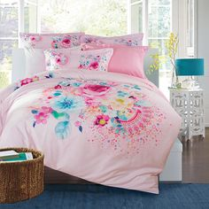 Pink and Turquoise Girls Flower Print Tribal Pattern Cute Girly Theme Modern Chic 100% Cotton Damask Full, Queen Size Bedding Sets
