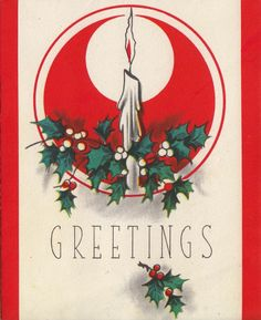 Vintage Christmas Card - candles