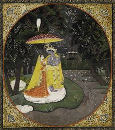 Radha and Krishna shelter under a Parasol. Attributed to the Purkhu family workshop, Kangra Miniature, c. 1825