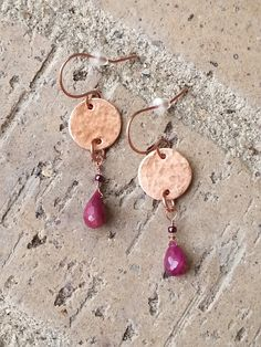 Earrings - Ruby Teardrops and Copper Discs, Chic Metal Earrings, Handcrafted Artisan Jewelry Free shipping in US Use coupon code HOLIDAY for 15% off discount