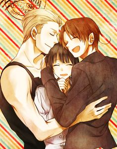 Hetalia (ヘタリア) - The Axis Powers - North Italy, Germany, & Japan Anime Guys, Manga Anime, Yuri, Hetalia Germany, Hetalia Fanart, Hetalia Axis Powers, Kaichou Wa Maid Sama, Another Anime, Art
