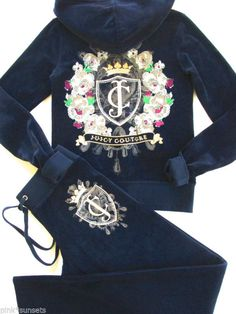 SunnyBeachCouture - Juicy Couture Blue Iconic Velour Tracksuit Hoodie Pant Track Sweats