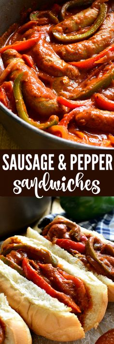 These Sausage & Pepper Sandwiches are like comfort in a sandwich roll! They combine the delicious flavor of Italian Sausages with fresh red & green peppers, onion, spices, and marinara sauce. Sandwiches, Sausage And Peppers Sandwich, Pork Recipes, Cooking Recipes, Hot Sausage Recipes, Sandwich Recipes, Cake Recipes, Food Dog, Beste Burger