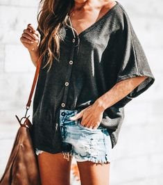 2020 Summer New Casual Ten Rib Cotton T-Shirt - Summer Outfits Casual Summer Outfits, Boho Outfits, Cute Outfits, Fashion Outfits, Women's Summer Clothes, Boho Spring Outfits, Look Short, Half Sleeve Shirts, Spring Fashion Casual