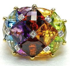 GABRIELLE'S AMAZING FANTASY CLOSET | Finely calibrated Multi-Gemstone Ring set in 18k Yellow Gold