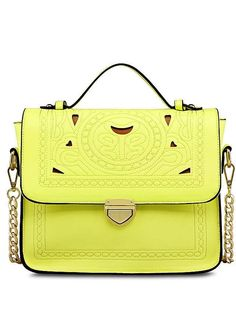 Hot Sale Solid Color Sweet PU Hollow Out Bag