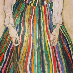 Egon Schiele / rainbow dress / skirt / painting / stripes / colour