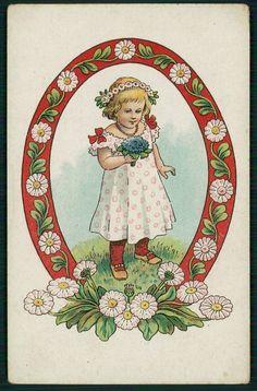 unsgn Art Nouveau Child Girl Flower original old 1910s postcard