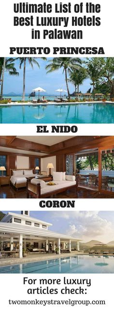 Ultimate List of the Best Luxury Hotels in Palawan, Philippines. In this article, you will find the following – Best luxury hotels in Puerto Princesa; Best luxury hotels in El Nido; and Best luxury hotels in Coron.