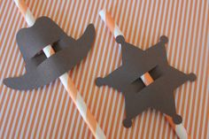 Cowboy Party Straw Toppers, Cowboy Hat and Sheriff Badge, Set of 12. $3.75, via Etsy.