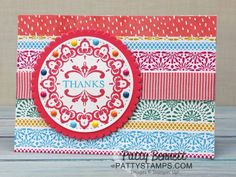 Make a Medallion Stampin' Up! Sale a Bration stamp set with enamel shapes -  card ideas and color combos by Patty Bennett