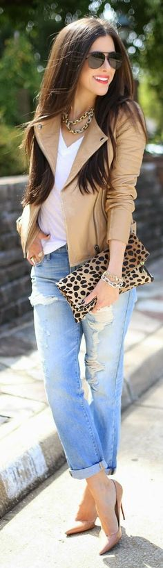 Street style | Camel moto jacket and denim | Latest fashion trends