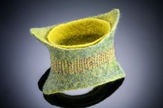 Merino wool bracelet, hand-felted and embellished stitching