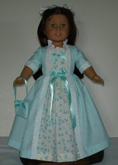 Teal Floral Colonial  Ball Gown Created by MargaretteDesigns4AG