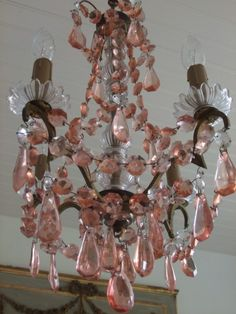 French four light chandelier with pink crystals...vintage and rare.