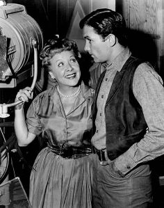 Vivian Vance and Allen Case as deputy Clay McCord on the set of the television program The Deputy