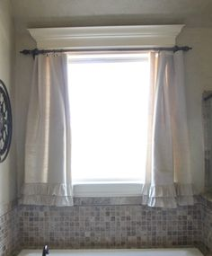 via Shanty to Chic    bathroom curtains and hardware on a budget with ruffles on the bottom - love them!