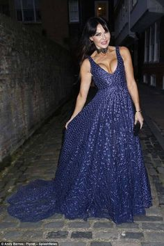 Lizzie Cundy flaunts her cleavage as she joins Melinda Messenger at gala bash - By Connie Rusk For Mailonline Published: EDT 13 April 2018 Floral Gown, Floral Lace, Satin Gown, Brunette Beauty, Cut Out Design, Pink Lips, Plunging Neckline, Her Style, Bash