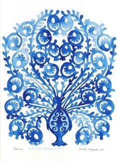 A really fun blue peacock print!