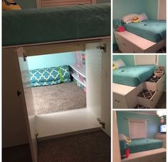 Use kitchen cabinets to loft bed, but keep the back out of one of them so you create a secret space How cool ! is part of Used kitchen cabinets - Cute Room Ideas, Cute Room Decor, Teen Room Decor, Bedroom Decor, Bedroom Storage, Bedroom Furniture, Furniture Ideas, Diy Room Ideas, Ikea Storage Bed