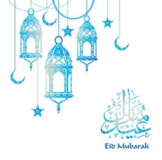 Hanging shiny fanoos (oil lamp), moons and stars on blue background for Eid Mubarak. Vector illustration.  http://greetingcardsuae.com/eid1.html  ::: Welcome To Classic Cards :::