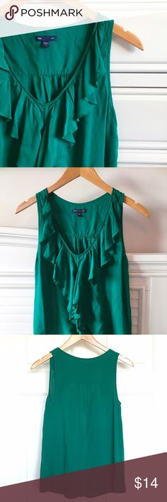 Green Ruffle Tank Vibrant green ruffle tank. This top is super soft and fun to wear. Great for work or for a night out. Worn a handful of times! GAP Tops
