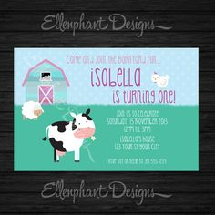 Girl's Farm Party Invite on Etsy $15.00 Farm Party Invitations, 1st Birthday Invitations, Farm Themed Party, Farm Birthday, Rsvp, First Birthdays, Invite, Party Themes, Victoria